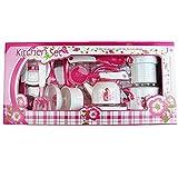 Kindergeschirr-Set 11 tlg.Set Rollenspiele Kinderküche Küchenspielzeug Kinder Kochen Spielen Kochtopf-Set Kochset Kochgeschirr- Set mit Blumen motiv (Rosa).