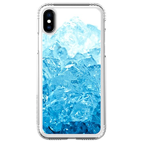 DistinctInk Saharacase für iPhone X/Xs (Nicht Max) Klar Stoß- Gewohnheits-Fall Clear Blue Ice Bild Print On Clear Case - Ice Clear Case Iphone
