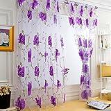 Windows Vorhänge, squarex 1PCS Vines Blätter Tüll Tür Fenster Vorhang Tuch Panel Sheer Schal Volants, violett, Size: 200X100cm
