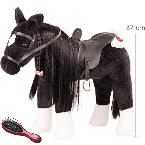 Plüsch Pony Kostüm Kind - Götz 3402783 Kämmpferd Rappe Puppe - großes Plüschpferd für Stehpuppen - Stockmaß 37 cm - 52 cm großes schwarzes und biegsames Pferd mit Zaumzeug und Sattel