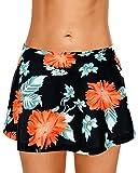Dolamen Donna Pantaloni da Nuoto Gonna, 2018 Costumi da Bagno Donna Pantaloncini Bikini Costume Intero Moda da Bagno Shorts Swimwear Costume Mare (XX-Large, Blackflowers)