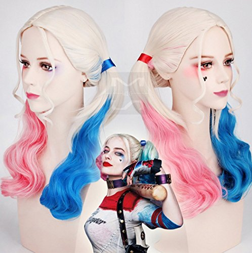 Aukmla parrucca cosplay suicide squad harley quinn hair red to blue ombre parrucche coda di cavallo capelli ricci parrucche