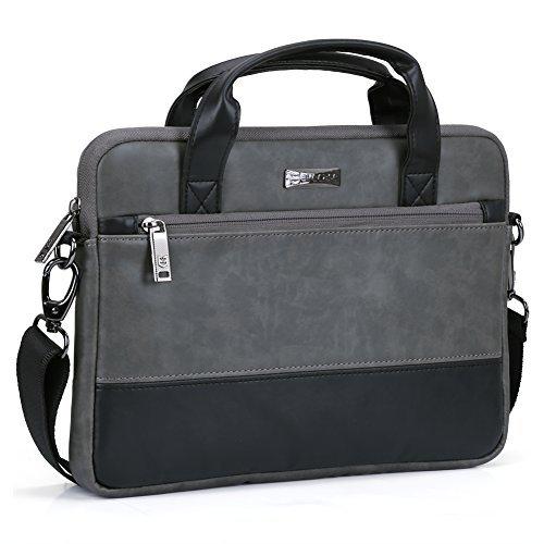 Laptoptasche 11.6, Evecase Premium Doppelfarbige Umhängetasche mit Gepolstert Laptopfach, Fronttasche, Zubehörfach für Laptop in 11,6 Zoll - Waschbär Grau