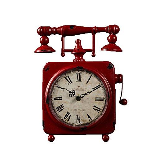 Hmei orologio retrò staffa in ferro battuto quadrato numeri romani in stile americano villaggio arredamento casa arredamento orologio da tavolo (rosso, 9.1 * 2.2 * 11.7 in)