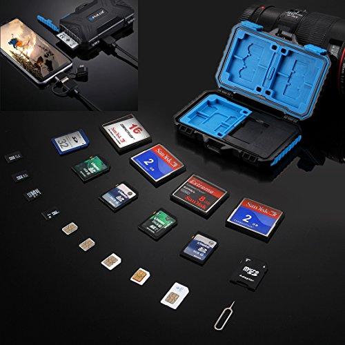 Pc-card-slot (Speicherkarten Leser & Halter Fall, PULUZ 22 Slots Wasserdichte SD CF TF SIM Karten Case & Built-in Kartenleser mit 3 in 1 USB-Kabel (USB 3.0 + micro USB 2.0 + Typ-C zu micro USB 3.0) für Tablet, Computer, Notebook & Android Smartphones, Kapazität: 1 * Standard SIM + 2 * Micro-SIM + 2 * Nano-SIM + 3 * CF + 7 * SD + 6 * TF + 1 * Kartenpin)