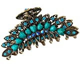 Fleurs Pince à cheveux vintage en alliage Strass antidérapant Cheveux Pinces (Bleu)