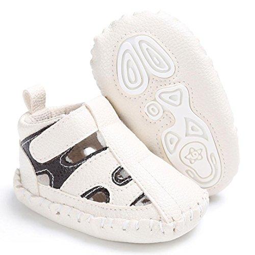 Janly Kleinkind Baby Girl Boy Krippe Schuhe weiche Sohle Anti-Rutsch-Sandalen-Sneakers aus Leder Weiß