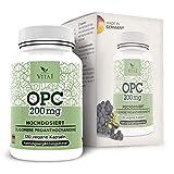 VITA1 Extrait de pépins de raisin OPC 200 mg • 120 capsules (alimentation pour 2 mois) • Sans gluten, végétalien, casher et halal • Fabriqué en Allemagne