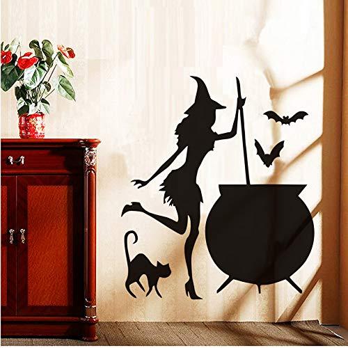 (Finloveg Halloween Fliegende Fledermäuse Katze Hexen Wandaufkleber Wohnzimmer Wand Fenster Dekor Hexe Silhouette Vinyl Aufkleber Abnehmbare Kunstwand 38X43 Cm)