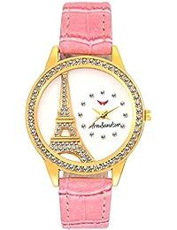 Armbandsur eiffel tower golden stone studded watch