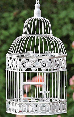 Galleria fotografica Arredamento, decorazione giardino - gabbia per uccelli, volatili di piccola dimensione - stile: shabby chic, rustico - materiale: metallo - colore: bianco - dim. ca 48 cm