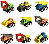 9 Pcs Mini Plastic Pull-back and Go Car Model Toy Sets Classic Construction Team Vehicle Play Push N Go Trucks Dumpers Toy for 3 Year Old Boys