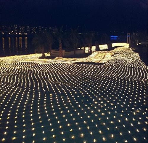 DROHE-Q Fee Net Leuchtet LED Fischernetz Mesh Wasserfall Draussen Wasserdicht Weihnachten Festival Dekoration Warm Weiß (2 * 2m) (Wasserfall Lichter Weihnachten)