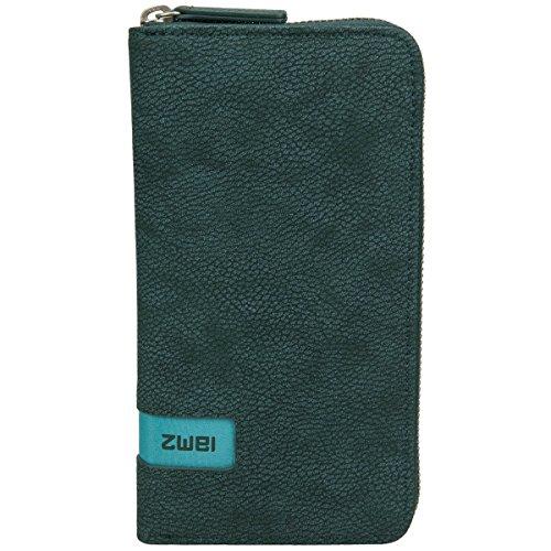 Zwei Wallet MW2 Reißverschluss Geldbörse Portemonnaie Geldbeutel Brieftasche, Farbe:Nubuk Petrol