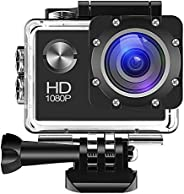 Action Camera 1080P 12MP Sports Camera Full HD 2.0 Inch Action Cam 30m/98ft Underwater Waterproof Camera with