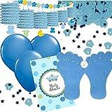 41-teiliges Dekoset * Baby Boy * zur Geburt eines Jungen | mit Girlande + Konfetti + Einladungen + Luftballons + Luftschlangen | Deko Dekoration Set Mottoparty Geburtstag blau Fuß Füße Banner
