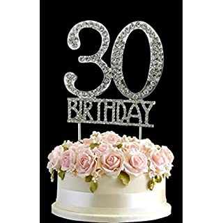 Kristall Monogran Happy 30th Birthday Cake Topper Strass Mit Silber Bling Kuchen Dekoration Party