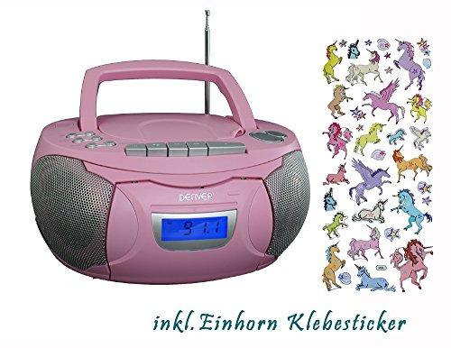 Denver tragbares Radio, CD, Kassettenspieler, Aux-In, Batterie und Netzbetieb, inkl. Einhorn Sticker (Pink)