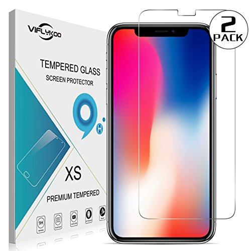 VIFLYKOO iPhone X Protector de Pantalla de Cristal Templado [2-Pack] Dureza 9H...