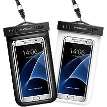 MoKo Funda Impermeable - Waterproof Brazo y Cuello Compatible Para iPhone 8/ X/ iPhone 7/ 7 Plus/ iPhone 6s/ 6s Plus/ Galaxy S7/ S7 Edge/ P7 P8 P9 y Smartphone 5.7 Pulgadas - IPX8 Certificado, Negro