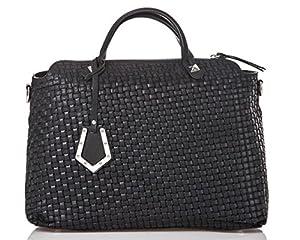 italienische Damen Handtasche Kingston aus echtem Leder in schwarz, Made in Italy, Shopper Bag 37x30 cm