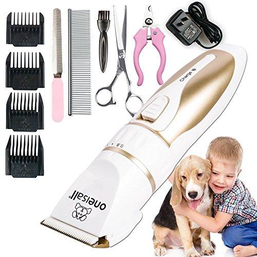 Oneisall Profi Schermaschine mit Zubehör Wiederaufladbare Tierhaarschneider Haustiere Elektrische Haarschneidemaschine für Hunde, Katze