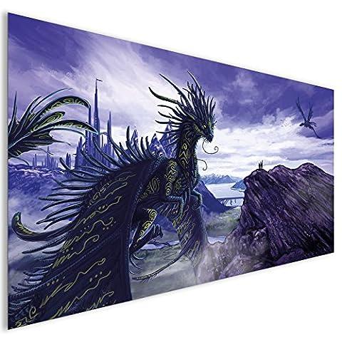 Purple Dragon Fantasy Acrylglas Wand Kunst - XL 140cm x 70cm