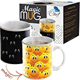 Magic Color Changing Funny Becher – Cool Coffee & Tea Einzigartiges Wärme Sensitive Tasse 12 Oz Smiley Gesichter Design Drinkware Keramik Tassen, niedliche Geburtstag Weihnachten Geschenk Idee für Mom Dad Friend Damen & Herren