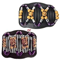 Kalttoy Easy Magic Wood Beads Double Hair Comb Clip Stretchy Women Hair Accessories Hot (Purple)