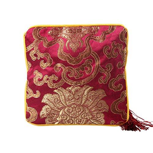 1X Toruiwa Schmuck Beutel Münzen Tasche Chinesische Seide Brokat Schmuckbeutel Reißverschluss Quaste gestickte Brieftasche 12*12cm Zufällige Farbe (Brieftasche Gestickte)