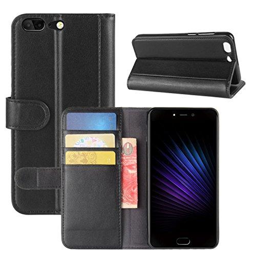 HualuBro Leagoo T5 Hülle, [All Around Schutz] Echt Leder Leather Wallet Handy Tasche Schutzhülle Case Flip Cover mit Karten Slot für Leagoo T5 Smartphone (Schwarz)