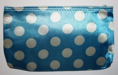 Medium Bleu avec Blanc Pois colorés Make Up Sac (ou Trousse de toilette) avec fermeture Éclair, longueur Hauteur de 7,5 x 4,5 pouces (18.75 x 11.25 cm)