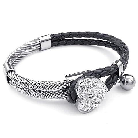 mendino en cuir coeur charme Bracelet jonc tressé en acier inoxydable Bracelet jonc (Argent) avec 1x sac en velours