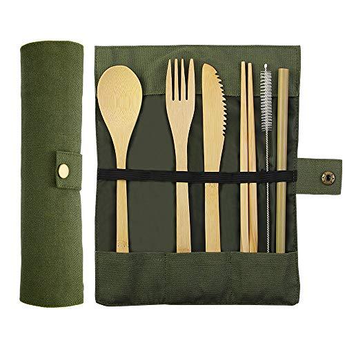 Kbnian Bambus Besteck Set Umweltfreundliches Wiederverwendbar Reisebesteck Messer Gabel Löffel Essstäbchen Strohhalm und Bürst für Camping Unterwegs