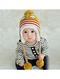 HuntGold mignon coloré manchot avec casquette velours chaud hiver cache-oreilles chapeau pour bébé jaune