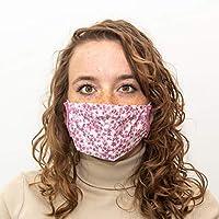 Mondkapje wit met lilaroze bloemen - gratis 10 filters - hoge kwaliteit - herbruikbaar en wasbaar katoenen mondmasker met elastiek