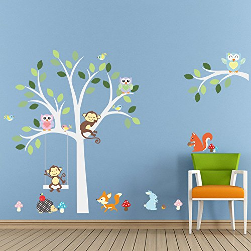 ElecMotive Cartoon Forest Animal Monkey Owls Fox Rabbits Hedgehog Tree  Swing Nursery Wall Stickers Wall Murals DIY Posters Vinyl Removable Art Wall  Decals ... Part 60