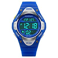 Kids Outdoor Sport Watch Waterproof Swimming Led Digital Watches with Alarm Back Light for Boys Girl-blue