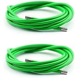 2x Funda Color Verde Cable Freno Acero Laminado Sirga de Ø5 y 2m para Bicicleta Fixie Retro 2898vd