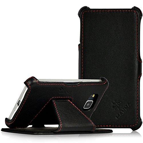 MANNA UltraSlim Samsung Galaxy Alpha 4.7 Zoll Hülle |Case aus Echtleder, Nappaleder 'Astana' in schwarz |Aufstellbare Tasche mit EasyStand |Innenseite des Covers mit Microvlies gepolstert | Schutzhülle für Samsung Galaxy Alpha 4.7 Zoll SM-G850F