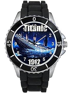 Timest - Titanic Motiv Uhr Unisex mit Silikonarmband in schwarz Rund Analog Quarz CSE019