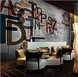 Cczxfcc Benutzerdefinierte 3D3Dolid Englische Buchstaben Graues Wand Tapete Relief Bekleidungsgeschäft Café Wand Papier EsszimmerTapete-400Cmx280Cm