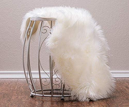 C&x morbido bianca faux pelliccia montone divano divano sgabello