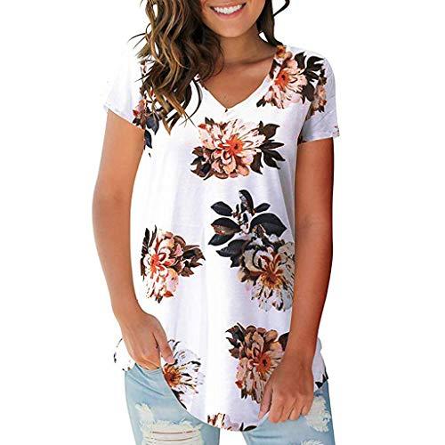 POPLY Damen Bluse Tops Frauen Sommer Streifen Floral Druck T-Shirt Lässige Einfach V-Ausschnitt Kurzarm Shirt Women Casual Tunika (Einfache Weiße Lady Kostüm)