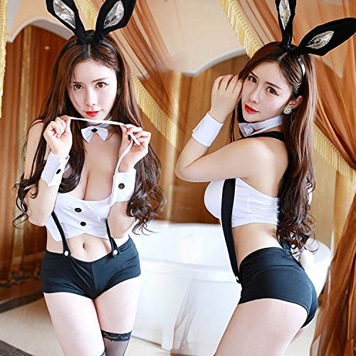 ug für Erwachsene Frauen-reizvolle Wäsche-Häschen-Mädchen-Uniform-Halloween-Rollenspiel-Klammer schließt Kostüm-Ausstattung kurz (Schwarzes + Weiß), freie Größe ()
