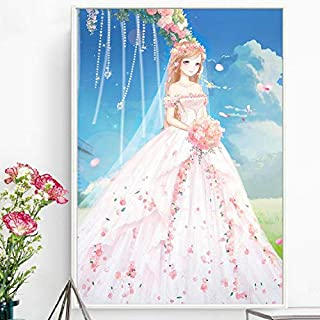 ASDFG Diamond Painting 5d Diamonds Full of Diamonds Embroidered Cute Princess Festive Stickers Diamond Cross Stitch New Simple Living Room Knot Wedding Dress,80cm*100cm