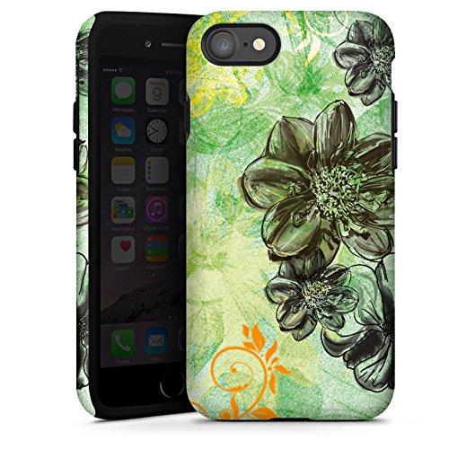 Apple iPhone X Silikon Hülle Case Schutzhülle Blumen Ornamente Blüten Tough Case glänzend