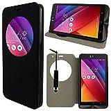 VComp-Shop® PU-Leder Schutzhülle mit Sichtfenster Flip Folio Leather Cover Case für ASUS Zenfone Selfie ZD551KL + Mini Eingabestift - SCHWARZ
