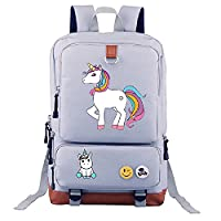 lovely Unicorn Dab backpack men girl Student School Bags travel Shoulder Bag Unicorn Dabbing Rucksacks (02, Grey)
