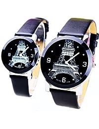 ufengke® amante pareja par correa de con estilo de la torre Eiffel de la vendimia reloj de pulsera-negro